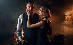 Picture girl, smoke, lamp, male, lovers, Maks Kuzin