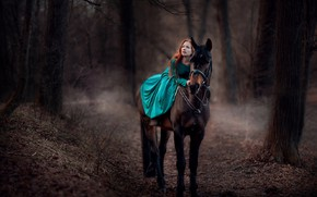 Picture autumn, forest, look, leaves, girl, pose, horse, dress, Oksana Butovo