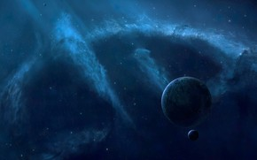 Picture space, nebula, planet, radiance