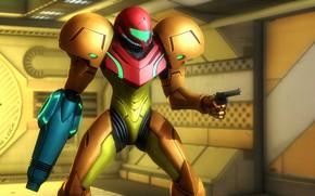 Picture girl, rendering, helmet, armor, revolver, samus aran, metroid