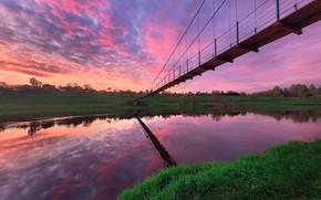 Picture landscape, sunset, bridge, nature, river, the evening, Bank, Andrey Rodionov