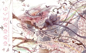 Picture butterfly, the wind, cap, touhou, ribbons, ruffles, pink hair, Touhou Project, Project East, Yuyuko Saigyouji, …