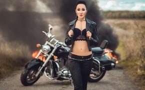 Picture girl, fire, smoke, figure, jacket, motorcycle, Диана Липкина