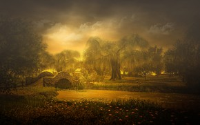 Picture summer, the sky, clouds, trees, landscape, sunset, flowers, nature, fog, pond, Park, rendering, dog, the …