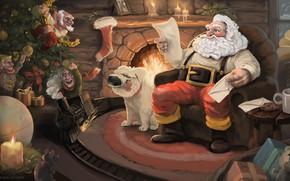 Picture Dog, Figure, Santa, Holiday, Santa Claus, Art, Christmas, Art, Fireplace, Merry Christmas, Santa, Santa Claus, …