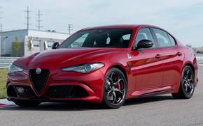 Picture car, machine, asphalt, Alfa Romeo, sport, red, sportcar, front, red, side, tuning, Alfa Romeo, sports …