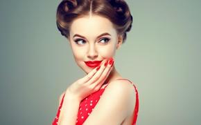 Picture face, pose, style, retro, model, hand, makeup, hairstyle, girl, vintage, beautiful, Ryabusjkina Irina