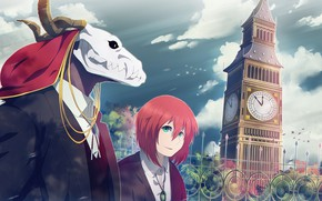 Picture the city, skull, being, male, Mahou Tsukai no Yome, Bride of the sorcerer, Chise, Elias