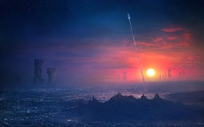 Picture Sunset, The sun, The sky, The city, Future, Ship, Trail, Rocket, Spaceship, Start, Fiction, Concept …