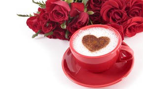 Picture love, heart, roses, hearts, red, red, love, heart, wood, cup, romantic, valentine's day, coffee, roses, …