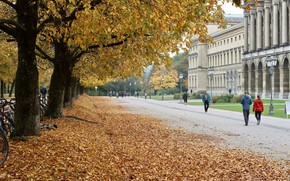 Picture autumn, the city, Park, street, Germany, Autumn in Munich