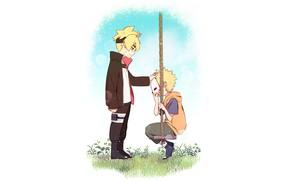Picture children, anime, art, Naruto, swing, Uzumaki Naruto, Boruto, Natuto, Uzumaki Boruto