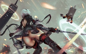 Picture Girl, Ass, Figure, Sword, Sparks, Android, Android, Buttocks, Art, Nier, Illustration, Characters, Automata, Game Art, …
