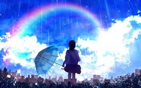 Picture the sky, girl, rain, rainbow, schoolgirl