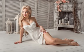 Picture hot, smile, model, blonde, floor, A Diakov George