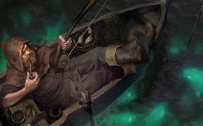 Picture night, boat, man, fisherman, rod, Legends of Runeterra, Smoking pipe