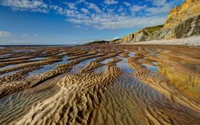 Picture sand, sea, beach, the sky, clouds, blue, rocks, shore, coast, England, relief