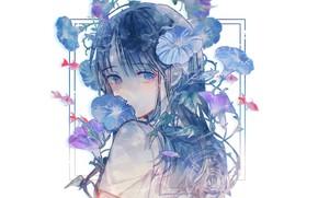 Picture fish, face, white background, schoolgirl, blue eyes, blue hair, bangs, blue flowers, bindweed, sailor, sideways