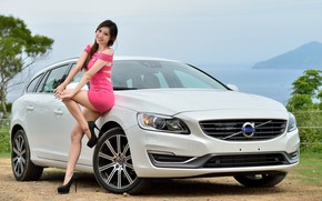 Picture look, smile, Girls, Asian, beautiful girl, white car, VOLVO, beautiful dress, posing on the car