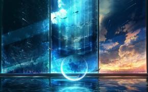 Picture girl, sunset, window, fantasy, underwater world, Crescent, Starfall