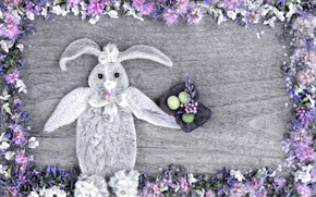 Picture flowers, holiday, toy, eggs, spring, rabbit, Easter