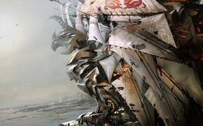 Picture Ship, Fantasy, Sails, Art, Fiction, Daniel Dociu, Guild Wars, Ship, Griffon, Griffin, by Daniel Dociu, …