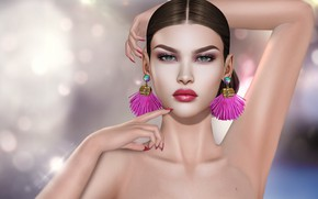 Picture hands, girl, earrings