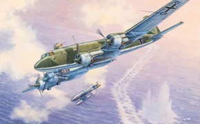 Picture art, airplane, aviation, ww2, Fw-200