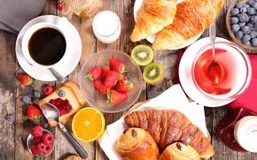 Picture berries, raspberry, coffee, Breakfast, kiwi, milk, blueberries, strawberry, bread, Cup, cakes, jam, toast, croissants