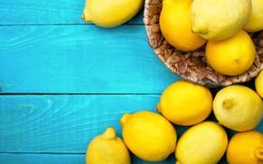 Picture yellow, lemon, blue background, citrus, Lemons