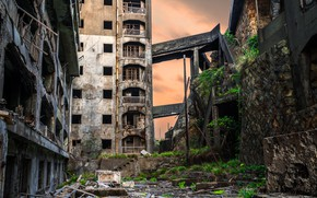 Picture building, home, Japan, ruins, architecture, hashima island
