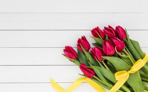 Picture flowers, bouquet, tape, tulips, red, red, love, wood, flowers, beautiful, romantic, tulips, spring