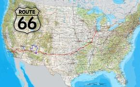 Picture USA, road, Map, Route 66, highway, miscellanea, North America, border, United States of America
