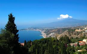 Picture sea, the volcano, Italy, Etna, Sicily, Taormina