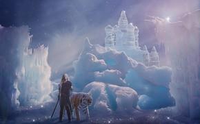 Picture girl, snow, tiger, castle, photoshop, sword, photoart, ice castle