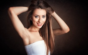 Picture look, smile, background, model, portrait, makeup, dress, hairstyle, brown hair, beauty, is, in white, posing, …