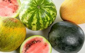 Picture watermelons, closeup, melon