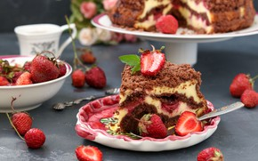 Picture berries, strawberry, cake, cream, dessert, chocolate