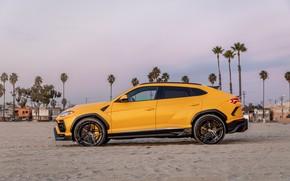 Picture beach, sunset, the evening, Lamborghini, side view, Vorsteiner, crossover, Urus, 2019