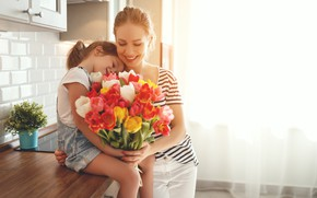 Picture joy, heat, bouquet, family, tulips, mom, daughter