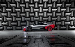 Picture coupe, BMW, in profile, 2019, on wall background, Vision M NEXT Concept