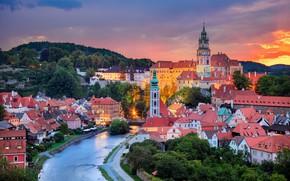 Wallpaper sunset, river, building, home, Czech Republic, Czech Republic, Vltava River, Český Krumlov, Cesky Krumlov, The ...