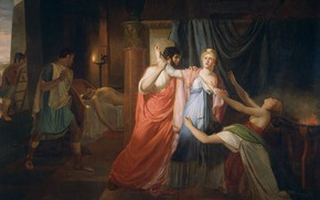 Picture oil, picture, canvas, 1810, Jean Eugene Charles Alberti, Jean-Eugène-Charles Alberti, Proklos inhibits Cleopatra...