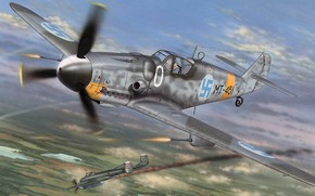 Picture Messerschmitt, Finland, single-engine piston fighter-low, the most popular model BF-109, BF109 G-6