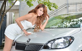 Picture auto, look, Girls, Asian, beautiful girl, Skoda, posing on the car