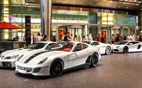Picture Ferrari 458 Italia, Lamborghini Aventador, Ferrari 599 GTB, Mercedes-Benz SLR
