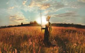 Picture field, girl, style, sword, fantasy, image, warrior, photoart, Kindra Nikole