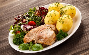 Picture potatoes, meat, greens, vegetables