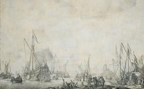 Picture figure, ink, 1693, Willem van de Velde I, Виллем ван де Велде Старший, Корабли 'Prinsenjacht' …