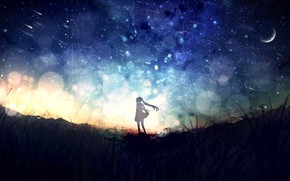 Picture girl, night, nature, Hatsune Miku, Vocaloid, Crescent